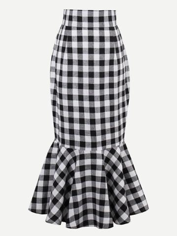 Shein Checkered Fishtail Hem Skirt