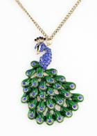 Shein Blue Gemstone Gold Peacock Necklace