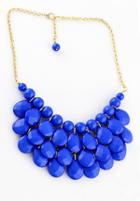 Shein Blue Beads Water Drop Necklace
