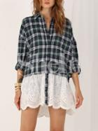 Shein Green Long Sleeve Plaid Hollow Blouse