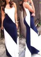 Rosewe White And Navy Blue Backless Dress