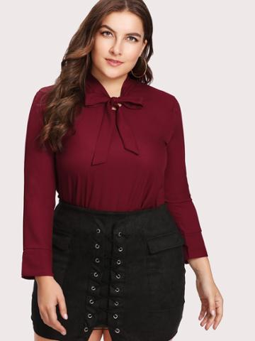 Shein Bow Tie Neck High Low Slit Side Blouse