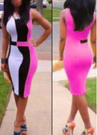 Rosewe Color Block Round Neck Sleeveless Dress