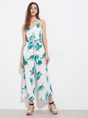 Shein Leaf Print Random Self Tie Waist Cami Jumpsuit