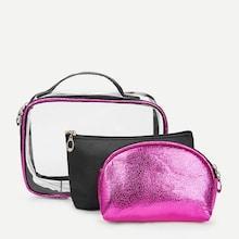 Shein Metallic Makeup Bag 3pcs