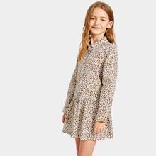 Shein Girls Button Front Leopard Print Dress