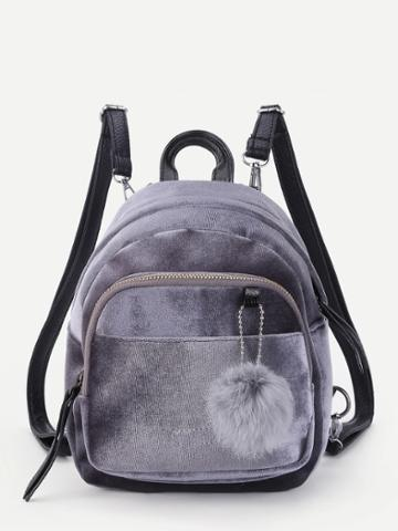 Shein Pom Pom Decorated Velvet Backpack