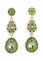 Shein Green Drop Gemstone Flower Earrings