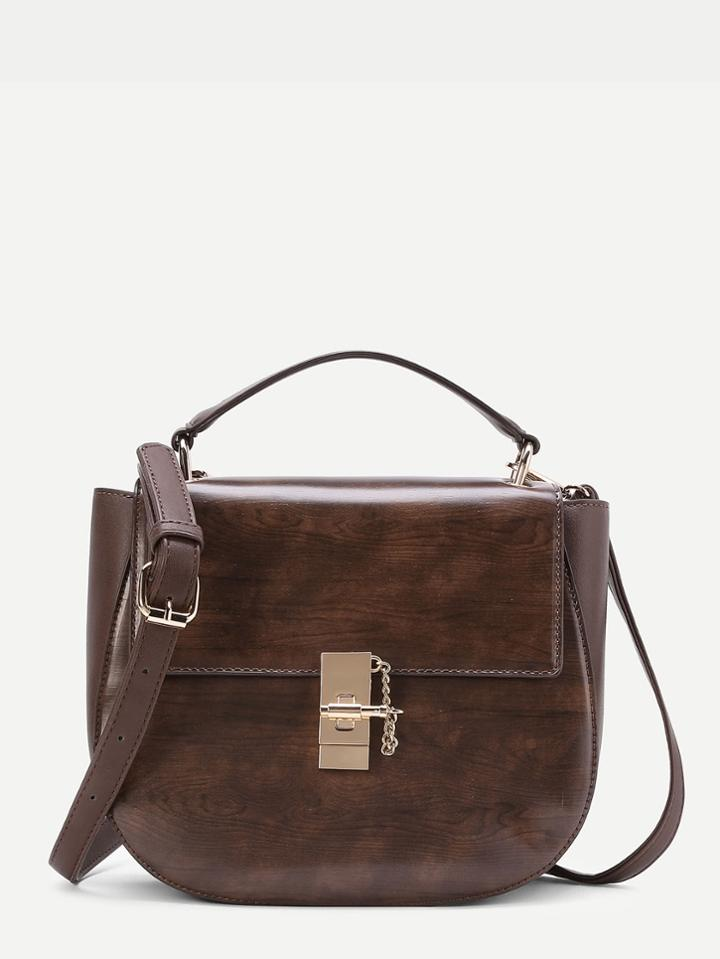 Shein Twist Lock Pu Crossbody Bag
