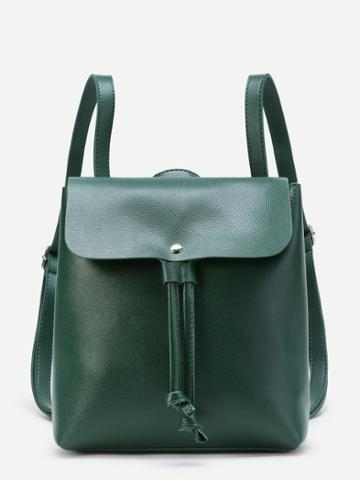 Shein Pu Drawstring Flap Backpack With Adjustable Strap