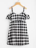 Shein Checkered Frill Trim Dress