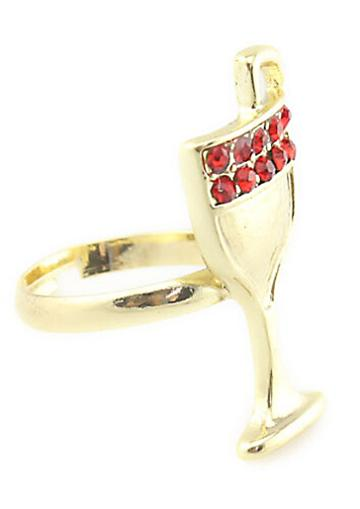 Shein Red Diamond Gold Wineglass Ring