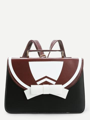 Shein Bow Tie Design Pu Backpack