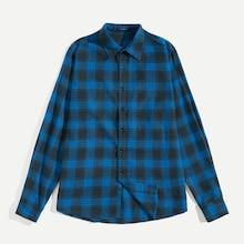 Shein Men Button Up Curved Hem Plaid Shirt