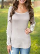 Shein Grey Scoop Neck Lace Long Sleeve Slim Blouse