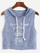 Shein Marled Knit Coffee Print Hooded Top