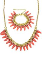 Shein Gold Chain Spike Necklace With Bracelet