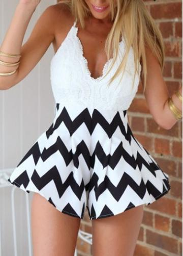 Rosewe Chevron Print Lace Crochet Open Back Rompers
