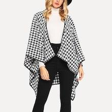 Shein Open Front Houndstooth Print Capes Coat