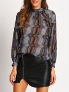 Shein Vertical Striped Chiffon Shirt