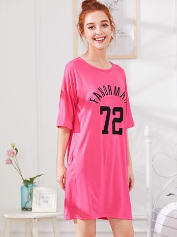 Shein Letter & Number Print Dress