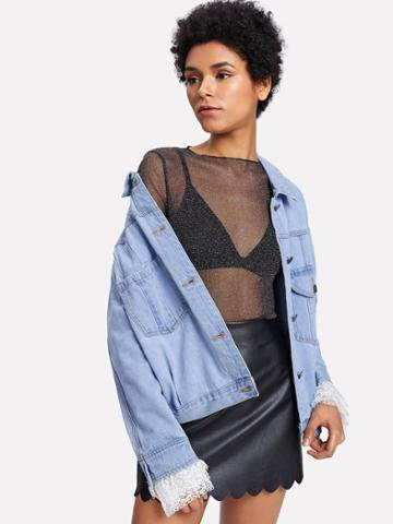 Shein Lace Contrast Sleeve Letter Embroidered Denim Jacket
