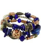 Shein Blue Gemstone Vintage Bead Bracelet