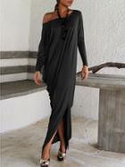 Shein Black Oblique Shoulder Boatneck Bat Sleeve Slit Dress