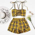 Shein Knot Front Checked Cami With Shorts