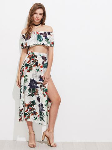 Shein Tropical Print Flounce Layered Crop Top With Split Skirt