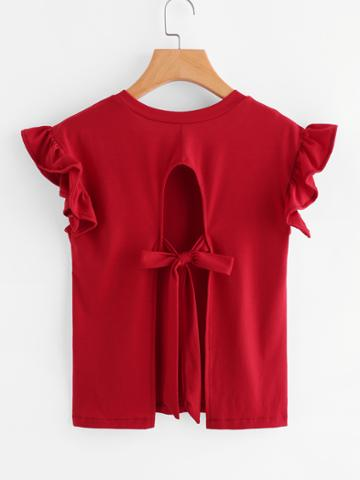 Shein Ruffle Sleeve Tie Detail Open Back Tee