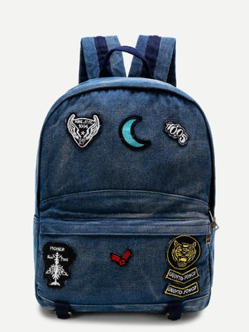 Shein Moon Patch Denim Backpack