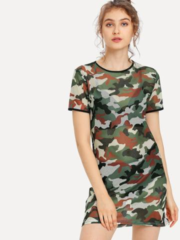 Shein Camo Print Tee Dress