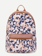 Shein Flower Print Pocket Front Canvas Backpack