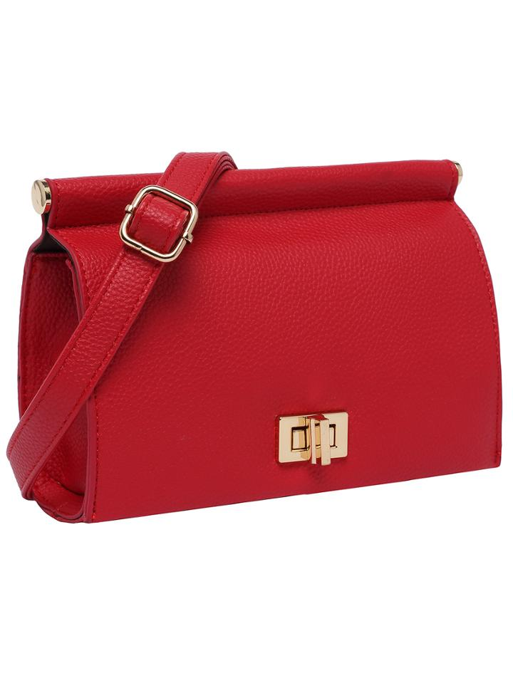 Shein Red Twist Lock Pu Satchels