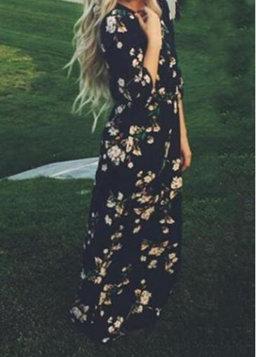 Rosewe Floral Print Black Chiffon Maxi Dress