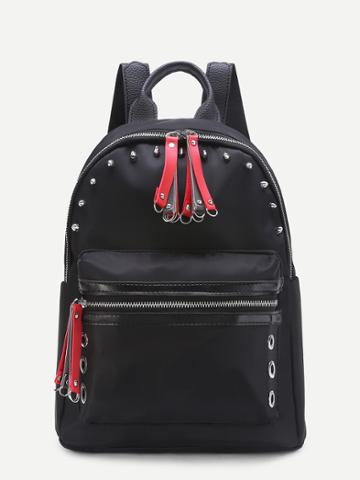 Shein Contrast Zipper Nylon Backpack With Studded