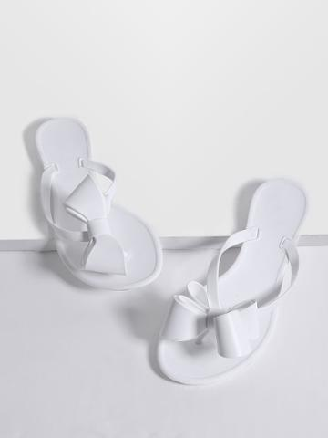 Shein White Toe Post Bow Embellished Slippers