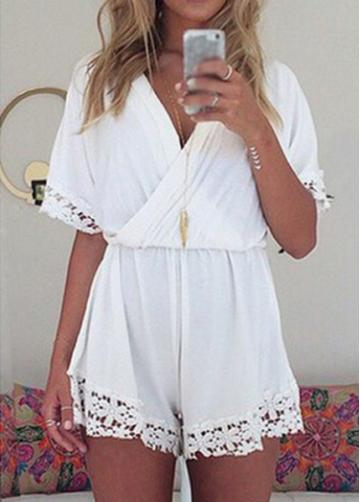 Rosewe Lace Splicing V Neck White Rompers