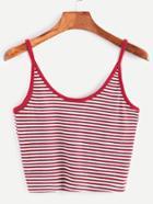 Shein Striped Contrast Binding Crop Cami Top