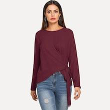 Shein Knot Side Asymmetric Hem Top