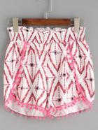 Shein White Geo Print Pom Pom Trim Wrap Shorts