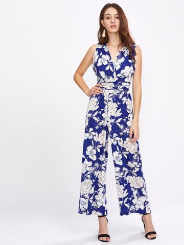 Shein Allover Florals Crisscross Tie Back Wide Leg Jumpsuit