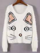 Shein White Round Neck Cat Print Crop Sweater