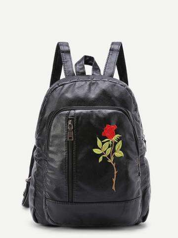 Shein Flower Embroidery Pu Backpack