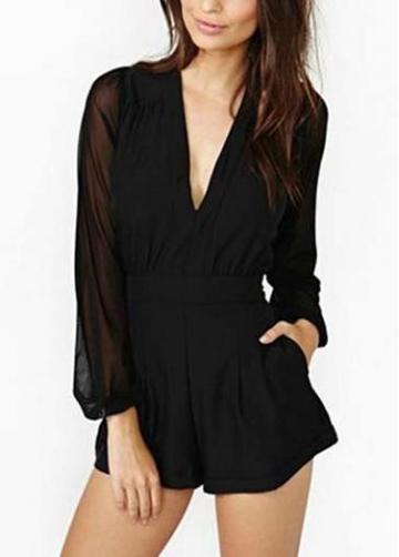 Rosewe Above Knee Long Sleeve V Neck Black Mini Rompers