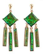 Shein Green Gemstone Long Drop Earrings