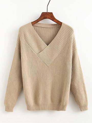 Shein Surplice V Neck Ribbed Knitwear