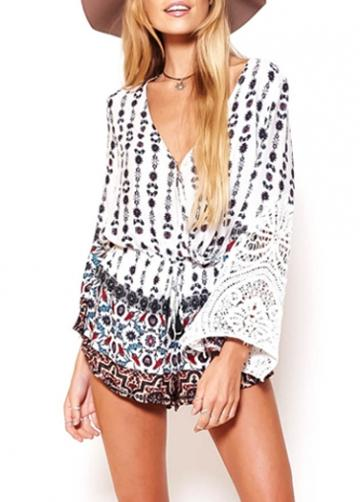 Rosewe Flare Sleeve Lace Patchwork Printed Loose Rompers