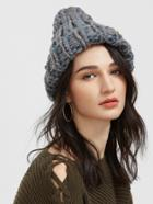 Shein Grey And Blue Cable Knit Beanie Hat